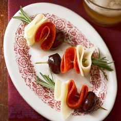 These no-cook Olive-Pepperoni Kabobs only take a few minutes to assemble: http://www.bhg.com/recipes/party/appetizers/new-years-party-appetizer-recipes/?socsrc=bhgpin121913olivepepperonikabobspage=18
