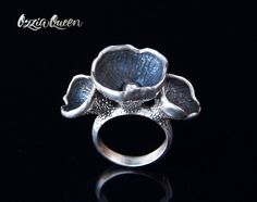 Sterling silver ring botanical ring silver ring by OzziaQueen