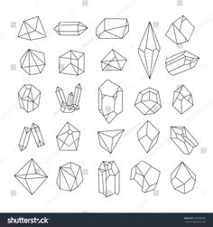 Set of geometric crystals. Geometric shapes. Trendy hipster retro backgrounds and logotypes.