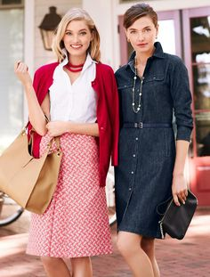 A flattering shirtdress crafted in beautiful dark-washed denim. Detailed with hip welt pockets, chest flap pockets, three-quarter sleeves and a waist-defining self belt.