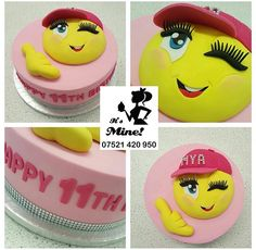 A pink 11th birthday cake with a yellow winking emoji on top by It's Mine Cakes