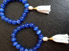 Azure Blue Cat's Eye & Pearl Mala Bracelet with Fresh by AmiAbo