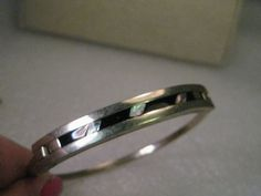 Vintage Alpaca Silver Hinged Clamper Bangle Bracelet, Abalone, Hecho en Mexico #hechoenMexicononame