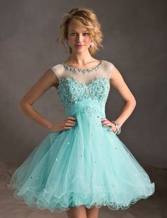 ❀ Cocktail Quinceanera Dresses Beading Sleeveless Scoop Short Puff Organza | Riccol ❤
