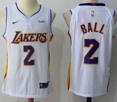 3b7908441f0 Nike Lakers  2 Lonzo Ball White NBA Swingman Jersey