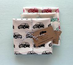 Mini Cooper Fabric!! Little MINIs Fabric FQ Hand Drawn Design, Black. $8.50, via Etsy.