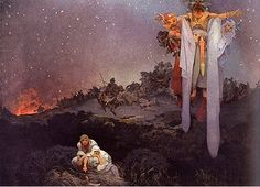 1912 Epopeya Eslava: Slavs in the original homeland. Alphonse Mucha