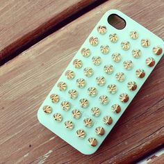 Mint and gold studs phone case
