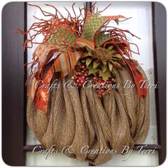 FALL Wreath -  Pumpkin Wreath - Burlap Pumpkin Wreath - Deco Mesh Wreath - Door Decor - Made To Order