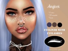 Eyeliner with eyelashes by angissi for the sims 4 Die Sims, Sims 4 Mm, Barbie, Los Sims 4 Mods, Sims 4 Cc Eyes, The Sims 4 Skin, Sims 4 Traits, Sims 4 Cc Makeup, Mod Makeup