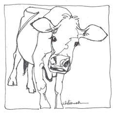 Aunt Abbey the Black Jersey Cow - continuous line drawing, painting by artist Debbie Grayson Lincoln Animal Line Drawings, Simple Line Drawings, Animal Sketches, Art Sketches, Art Drawings, Contour Line Drawing, Contour Drawings, Cow Drawing, Drawing Faces