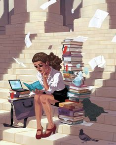 Woman writer with laptop, books, papers, and tea. The Art Of Animation, Sam Bosma I Love Books, Good Books, Books To Read, My Books, Girl Illustration Art, Illustrations, Reading Art, Woman Reading, Sam Bosma