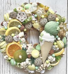 A sweet Sweets wreath Easter Wreaths, Holiday Wreaths, Holiday Decor, Diy Wreath, Ornament Wreath, Deco Mesh Wreaths, Summer Wreath, Making Ideas, Diy And Crafts