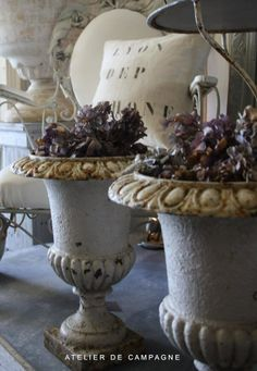 White French Cast Iron Urns - VERY beautiful, Trino!! via Atelier de Campagne