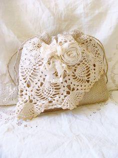 Wedding Dollar Dance Bag Burlap Vintage Lace Doily Bride Purse Flower Girl Ditty Bag Country Wedding Gypsy Boho Pouch Tote Winter Wedding