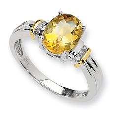 Sterling Silver 14kt Gold 1.76 ct Citrine Ring