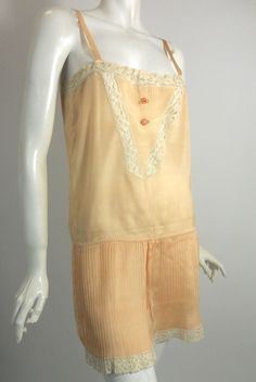 Flirty Peach Silk Envelope Chemise with Pleats circa 1920s