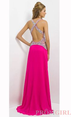 Beaded Open Back Prom Dress, Blush Backless Prom Gowns- PromGirl