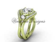 14kt yellow gold unique diamond engagement ring by VinsienaDesigns