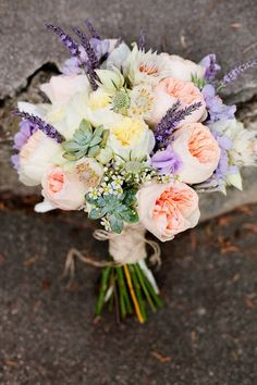 bridal bouquet - love the lavender, succulents… not so much the other purple flowers