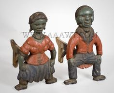 Andirons, Figural, Original Paint  Black Couple, Knees Bent, Hands on Knees  Anonymous  Late 19th, Early 20th Century        As depicted, a pair of cast iron figural andirons in the form of a couple squatting with hands on knees. Outstanding condition. (Height: 16.5 inches; width: 9.5 inches; depth: 16 inches)  $1,450 Fireplace Accessories, Antique Stores, Country Primitive, Antique Furniture, Vintage Black, Cast Iron, Folk Art, Aunt Jemima, Old Things