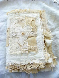 Handmade Fabric and Lace Journal Book of Love No. 2 by ShabbySoul
