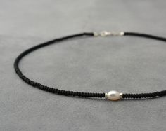 Necklaces Boho One white pearl, Silver 925 beads and black sead bead necklace - short necklace - one pearl necklace - Chocker necklace - Boho jewelry - Cute Jewelry, Pearl Jewelry, Boho Jewelry, Beaded Jewelry, Jewelery, Jewelry Accessories, Jewelry Necklaces, Jewelry Design, Beaded Bracelets