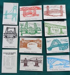 Portland Bridges of the Willamette New Printing Set of 10 Art Postcards. $14.00, via Etsy.
