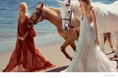 """The spring-summer 2015 campaign from Chloe has been released, and the cast stars top models Caroline Trentini and Eniko Mihalik. Photographed at a beach by Inez & Vinoodh, the pair walk on the sand followed by horses in their dreamy dress styles. """"This season I was searching for a truly iconic 70's beauty. Both Caroline and Eniko have that look, so indicative of the 70's era; the unkempt hair, ..."""