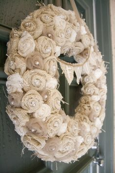 burlap, lace and tulle wreath.   #fall #autumn #decor