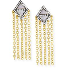 Freida Rothman 14k Vermeil CZ Triangular Chandelier Tassel Earring ($92) ❤ liked on Polyvore featuring jewelry, earrings, triangle shaped diamond earrings, cz earrings, tassle earrings, iridescent earrings and iridescent chandelier earrings