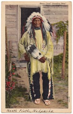 Vintage Postcard Sioux Chief Standing Bear Native American Indian Curt Teich C T | eBay
