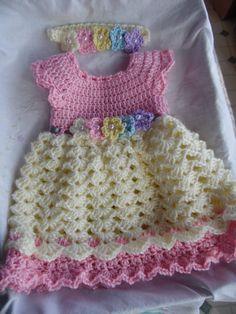 Handmade Baby Crochet Dress and Headband Set READY TO SHIP
