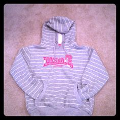 Grey and white stripes hoodie Warm sweatshirt with fleece inside. Super cute.it is a size 12, but it is really small. Lonsdale London Tops Sweatshirts & Hoodies