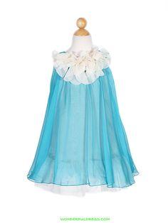 Teal Blue HI Multi Chiffon Flower Girl Dress