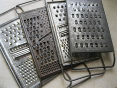 Vintage  Set of 4 Primitive Cheese Graters by ShaneLilyRain, $12.00