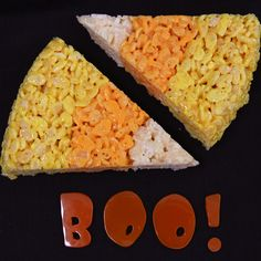 candy corn rice krispie treats-just made these and it was really simple and fun. I had to add butter to the white krispy mix and more to the orange mix but other than that a great recipe! Halloween Desserts, Holiday Desserts, Sweet Desserts, Holiday Treats, Dessert Recipes, Halloween Stuff, Scary Halloween, Halloween Treats, Holiday Decorations