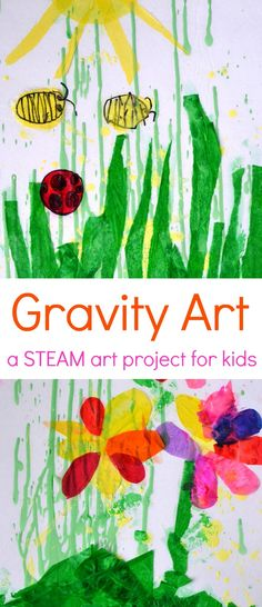 This gravity art activity for kids combines science and art to demonstrate the force of gravity in a STEAM-filled activity that promotes creative thinking. Add colored tissue paper to turn it into a beautiful spring artwork. Painting Activities, Art Activities For Kids, Preschool Art, Art For Kids, Steam Activities, Art Children, Children Food, Kids Fun, Space Activities