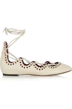 Isabel Marant Snake-Effect Leather Ballet Flats