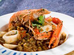 Cigalas y almejas con lentejas ¡ riquísimas! Latin Food, Spanish Food, Pulled Pork, Japchae, Chicken, Meat, Ethnic Recipes, Drink, Blog