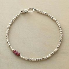 """Sundance - Diversions Bracelet $158. In this sterling and ruby beaded bracelet, three rubies form a colorful diversion, interrupting sterling silver beads. Exclusive. Handmade in USA. Lobster clasp. 7-1/4""""L."""