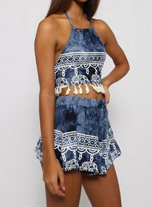 Top halter flecos con shorts -azul-Spanish SheIn(Sheinside)