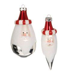 RAZ Imports Red, White & Silver Santa Claus Glass Ornaments