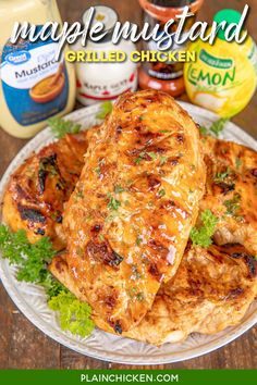 Maple Mustard Grilled Chicken – so simple! Only 6 ingredients – chicken, maple, dijon mustard, lemon juice, paprika, and salt. Let the chicken marinate in the fridge and then grill or cook on the stove. We LOVE this easy chicken. The maple mustard sauce is to-die-for delicious! My husband asks me to make this at least once a week – SO good! #marinade #chicken #grilled #glutenfree
