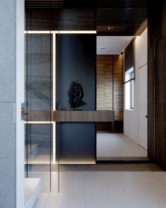 Point of nature on Behance Modern Luxury, Modern Interior, Home Interior Design, Interior Decorating, Corridor Design, Partition Design, Flur Design, Wall Design, Kitchen Faucet Repair