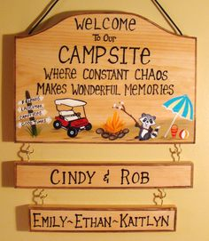 Personalized Camping Campsite Sign Campfire Names Golf Cart Raccoon Beach Design… - Top Trends Camping With Kids, Family Camping, Tent Camping, Camping Gear, Camping Hacks, Outdoor Camping, Glamping, Camping Guide, Camping Lights