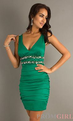 sexy evening gowns | Sexy Low Cut Cocktail Dresses, Short Green Prom Dresses- PromGirl