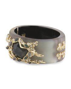 image of Crystal Lace Labradorite Lucite Hinged Bracelet