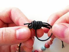 """I'm ashamed to say, in all my years of DIYing, I had never mastered the sliding knot. After the, like, fifth tutorial (tonight), I found this method. The secret is using a second (separate from the jewelry piece) cord for your loops and knotting. This method leaves 4 """"tails"""" (2 from the ends of your piece, 2 from the 2nd cord). It worked the first time (on leather, even!). Give it a shot if you've struggled with knots in bracelets or necklaces, or just need a quick, adjustable closure!"""