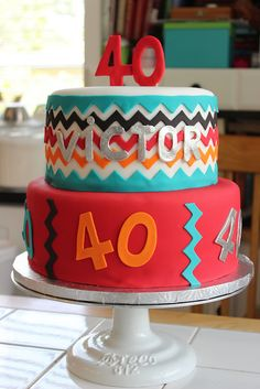 Chevron 40th Birthday Cake by sugarcrushmiami, via Flickr - thinking this could work for my birthday different colors and 33 instead of 40...